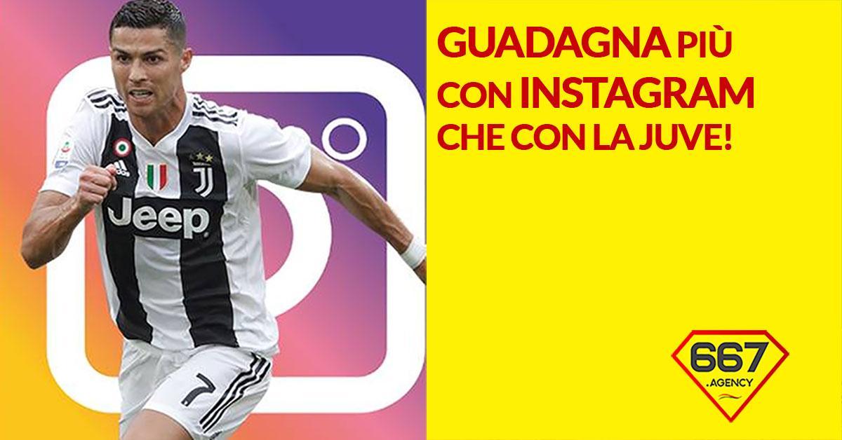 ronaldo guadagna più con instagram che con la Juventus