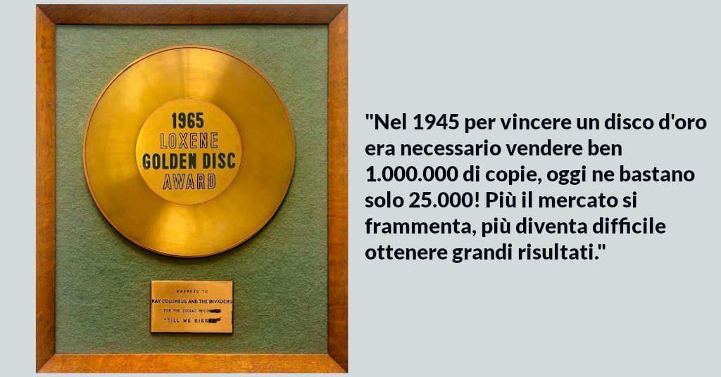 disco d'oro passa da 1.000.000 di copie a solo 25.000 in meno di 50 anni