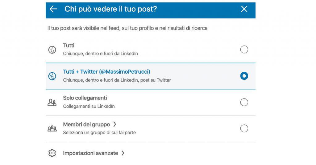 Collegare LinkedIn a Twitter