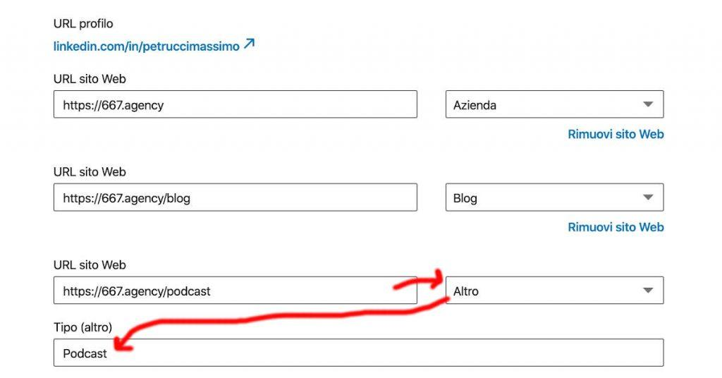 ottimizzare linkedin con personalizzazione dei link ai tuoi siti web