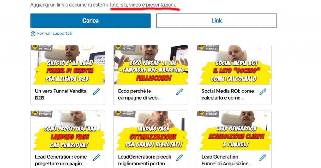linkedin ottimizzazione profilo con video ed immagini