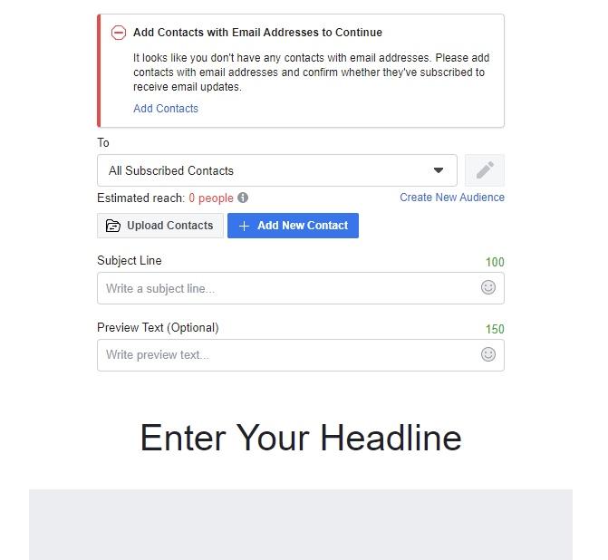 Invio email da Facebook: schermata di esempio