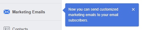 Facebook Email Marketing: notifica