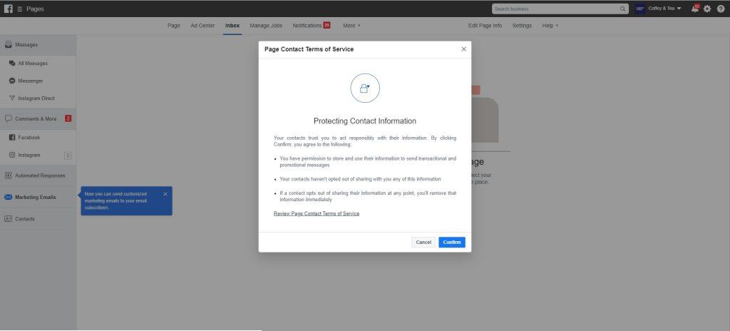 Nuova funzionalità che permette di inviare email di marketing su Facebook