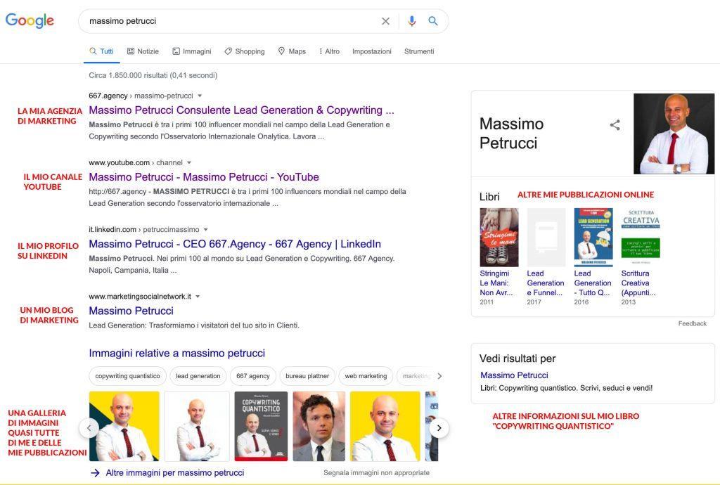 Personal Branding: risultato di ricerca di Massimo Petrucci su Google.